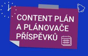 Kartička s popiskem content plán a plánovače příspěvků.